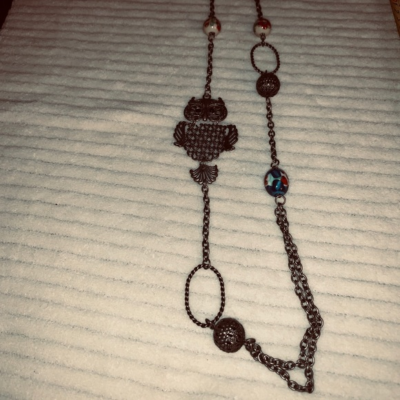 Jewelry - 2/$15 pewter color necklace owl beads